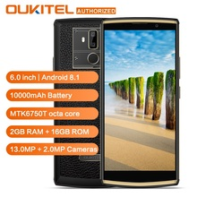 OUKITEL K7 Güç 4G LTE akıllı telefon 10000 mAh 6.0 inç HD + Android 8.1 MT6750T Octa Çekirdekli Parmak Izi 2G RAM 16G ROM Cep Te...