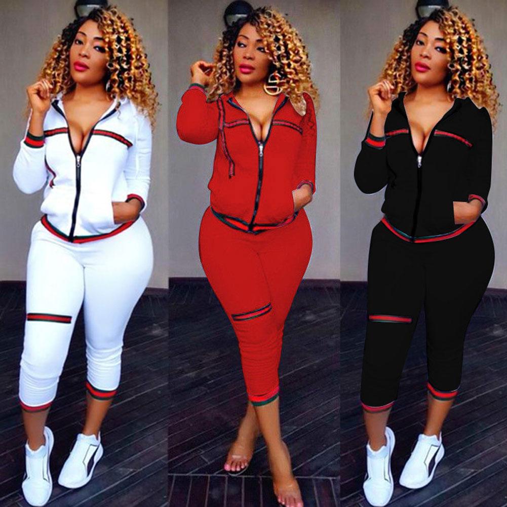 2PCS Womens Tracksuits Set Ladies 2019 New Brand Autumn Long Sleeve Casual O-Neck Hoodies +long Pants Plus Size спортивный кост