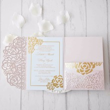 Buy blessing invitation cards and get free shipping on aliexpress 25pcslot 250gsm pearl paper laser cut flower wedding invitation card three folded card greeting stopboris Images