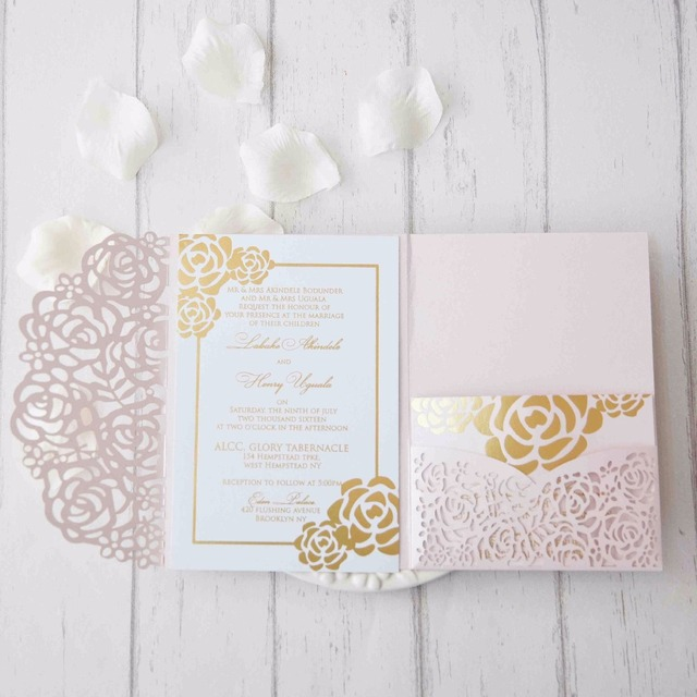 25pcslot 250gsm pearl paper laser cut flower wedding invitation 25pcslot 250gsm pearl paper laser cut flower wedding invitation card three folded card greeting stopboris Gallery