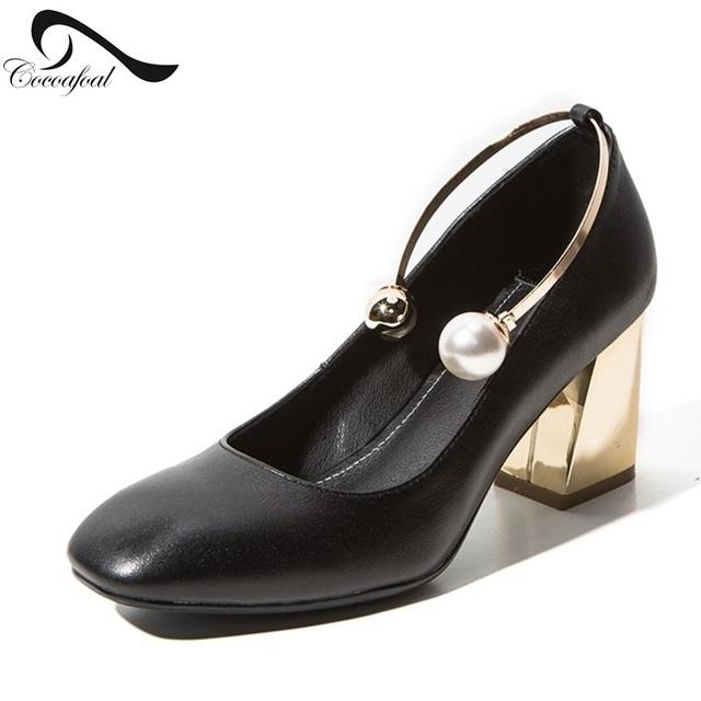 2017 Últimos Zapatos Individuales Mujer Hermosa 8.5 CM Gladiador Sandalias Mujeres Perla de La Manera de Cabeza Cuadrada Zapatos de Tacón Alto Puls tamaño 8