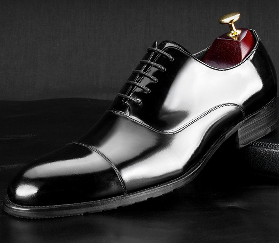 British Style Men's Shoes Round Toe Black Men's Leather Business Formal Dress Genuine Leather Shoes Men Bright Leather Shoe 8