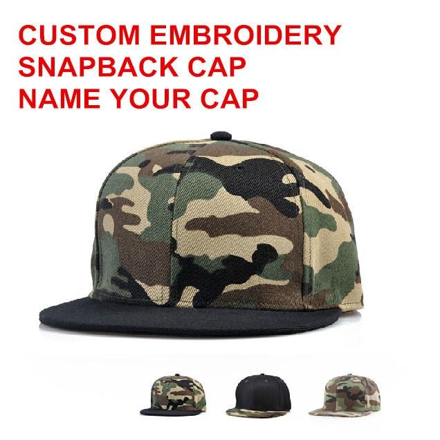 f5a42125315 Camouflage Flat Sanpback Cap Men Women Snapback Camou Snapback Cap Custom  Personalized Emboreidery Logo Free Shipping