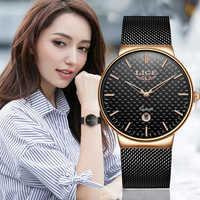 Reloj Mujer LIGE Fashion Luxury Brand Women Quartz Watch For Montre Femme 2019 Female Clock Relogio Feminino Ladies Gold Watch