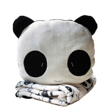 TOP!-Sweet Panda Velvet Plush Toy Coral Fleece Blanket Accent Set (Black, White) недорого