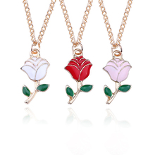 Fashion White Pink Rose Enamel Gold Pendant Necklace Metal Alloy Woman Plant Ornament Gift Drop Shipping