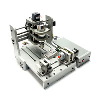 CNC Wood Router Mach3 Control 4 Axis CNC 3D Engraving Machine with 300W Spindle Mini Lathe Woodworking Machine PCB Milling