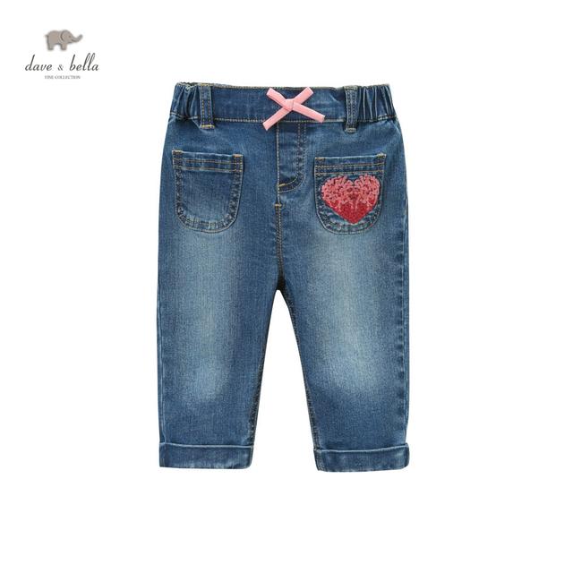 Dave bella primavera DB4373 nova girs do bebê blue jeans crianças moda jeans azul calças jeans da moda meninas