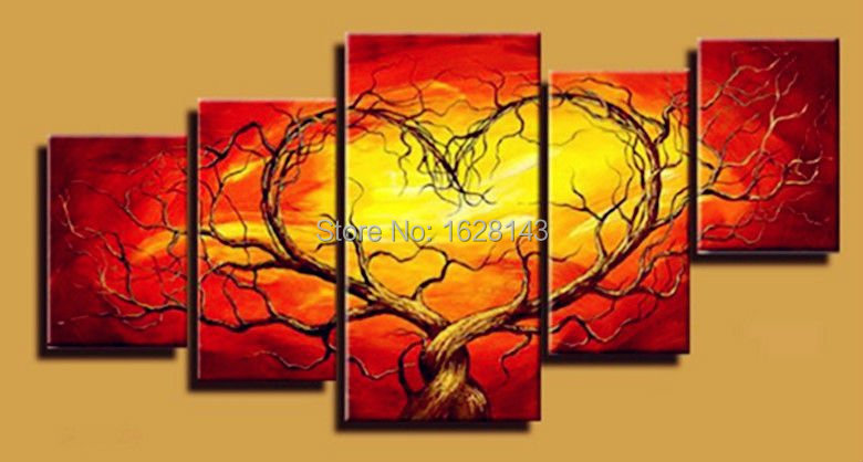 cheap large canvas art red trees heart 5panels abstract oil painting ...