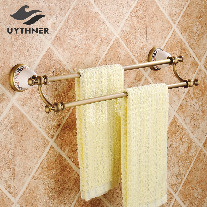 Antique Brass Solid Brass Bathroom Towel Rack Double Bars Carved Holder Bathroom Towel Holder Wall Mounted цены