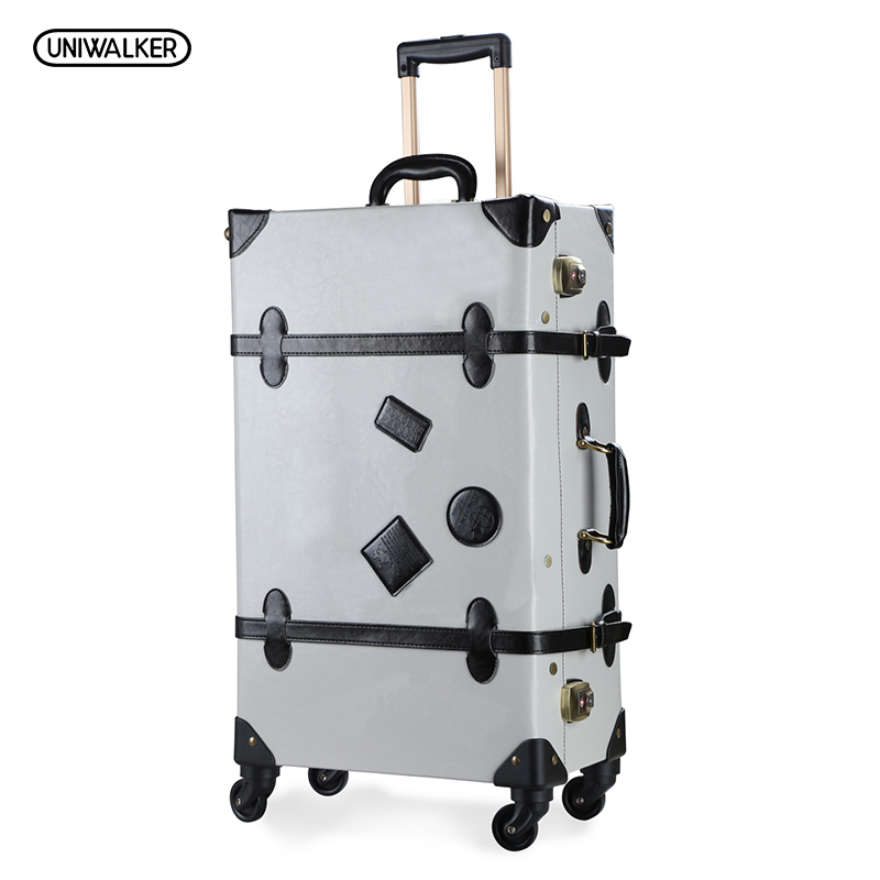 12 20 22 24 26 Gray Retro Trolley Suitcase Bags, 2PCS/SET Vintage Travel Trolley Luggage With Spinner Wheels With TSA Lock vintage suitcase 20 26 pu leather travel suitcase scratch resistant rolling luggage bags suitcase with tsa lock