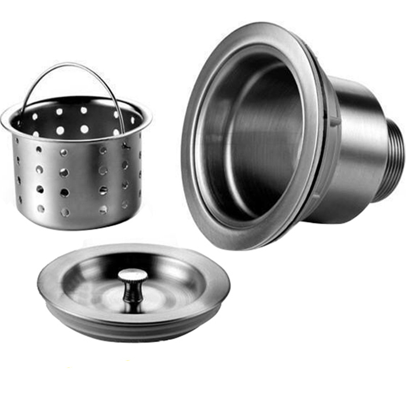 Stainless Steel Kitchen Single / Double Sink Drainer Wire Drain Pipe Fittings With Basket Sink Filter Sewer Accessories 110140mm