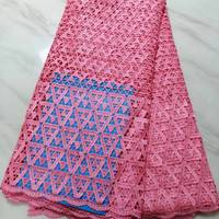 5Yards/pc Nice looking pink african water soluble lace leaves style embroidery french mesh guipure lace for dressing BW54 1