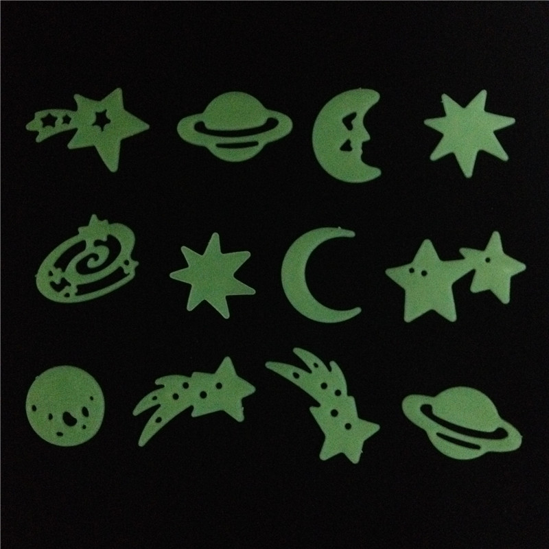 New Arrival Shooting Stars Planet Glow In The Dark Fluorescent PVC Wall  Stickers Home Decals(