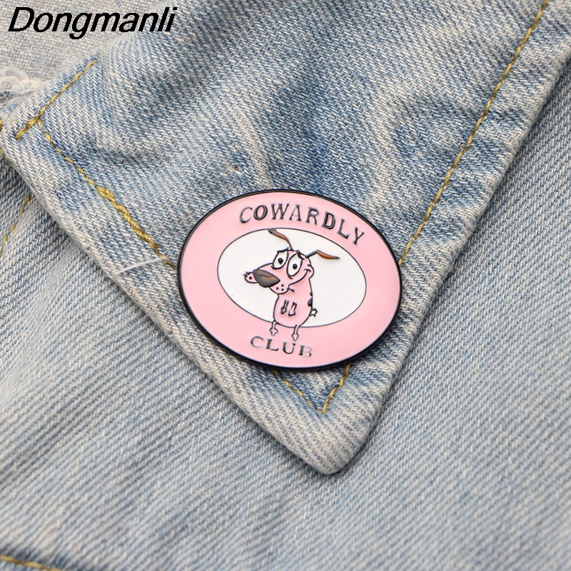 DMLSKY COURAGE The Cowardly Dog Soft Enamel Pin Clothing bags Brooch Club Cute Men Lapel Pins Kids M2488