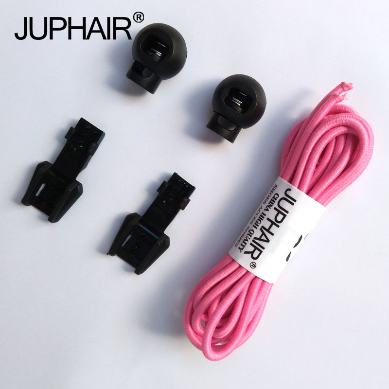 JUP 1 Pair Pink Round Colored Shoe Laces for Children Fashion Elastic Rubber Adjustable Shoelaces Fashion Lazy Shoelace Strings jup 50 pairs sneaker shoelaces skate boot laces outdoor sport casual multicolor bumps round shoelace hiking slip rope shoe laces
