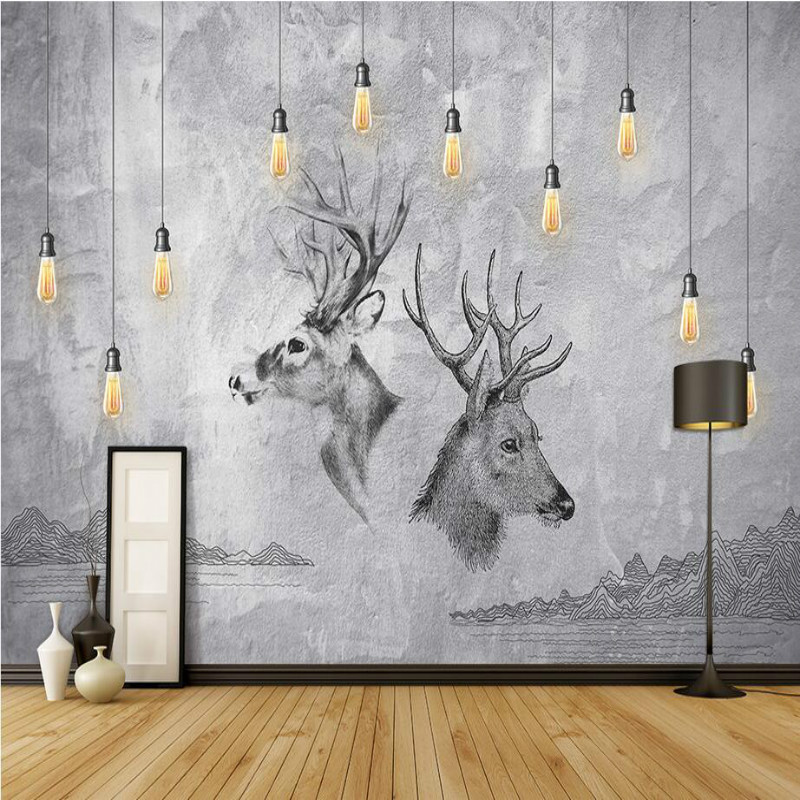 vintage decorative painting 3d wall paper wallpaper for living room backdrop home improvement elk 3d Non wovens silk wallpapers
