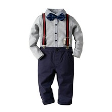 Boys Gentleman Suits Stripes Bow Tees and Overall Pants 2pcs Sets Spring Autumn Western Fashion Children Clothes