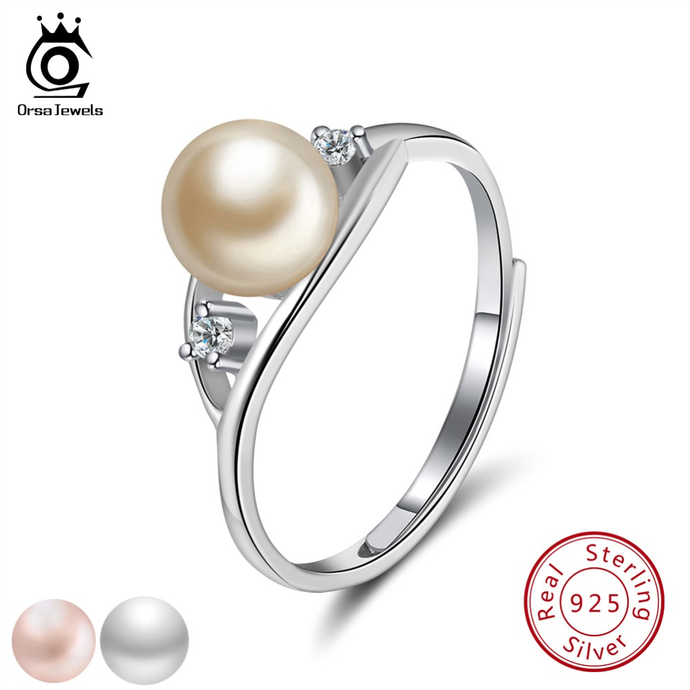 ORSA JEWELS Solid Sterling Silver Rings For Women Genuine Freshwater Pearl AAA CZ Ring Adjustable Girl Anniversary Gift SR76 недорго, оригинальная цена