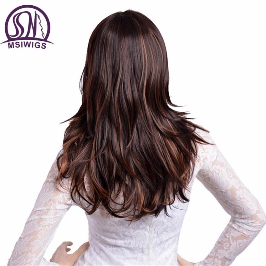 Us 1372 31 Offmsiwigs Lange Gerade Haar Synthetische Perücken Braun Mit Gelb Highlights Ombre Perücke Für Frauen Hohe Temperatur Faser In