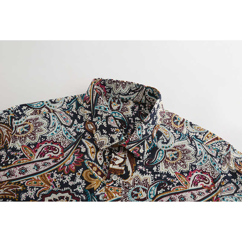 JeeToo Paisley Long Sleeve Print Mens Shirts Plus Size Autumn Winter Casual Cotton Shirt Fashion Slim Fit Male Tops 2018 New