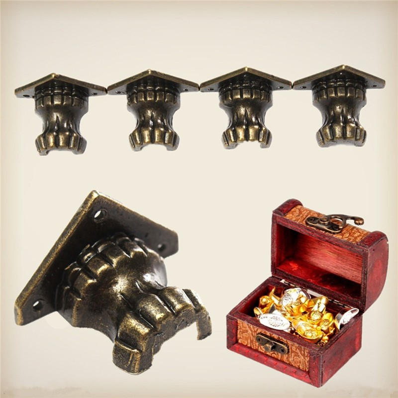 MTGATHER 4pcs Zinc Alloy Antique Brass Jewelry Chest Wood Box Decorative Feet Leg Corner Protector 35 x 25MM Lowest Price