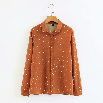 2018 Autumn Long Sleeve Polka Dot Shirt Turn Down Collar Korean Fashion Button Down Cute Shirt Fall Loose Tops Streetwear
