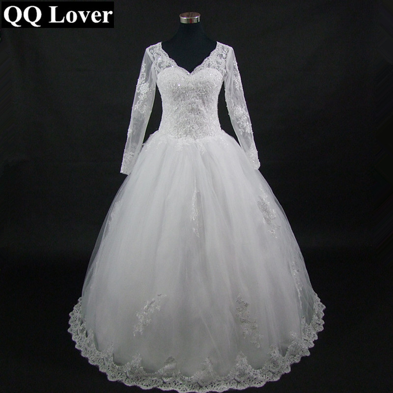 QQ Lover  Cheap Longo Sexy Sheer Full Sleeve Zipper Back Tulle Wedding Dress With Real Pictures
