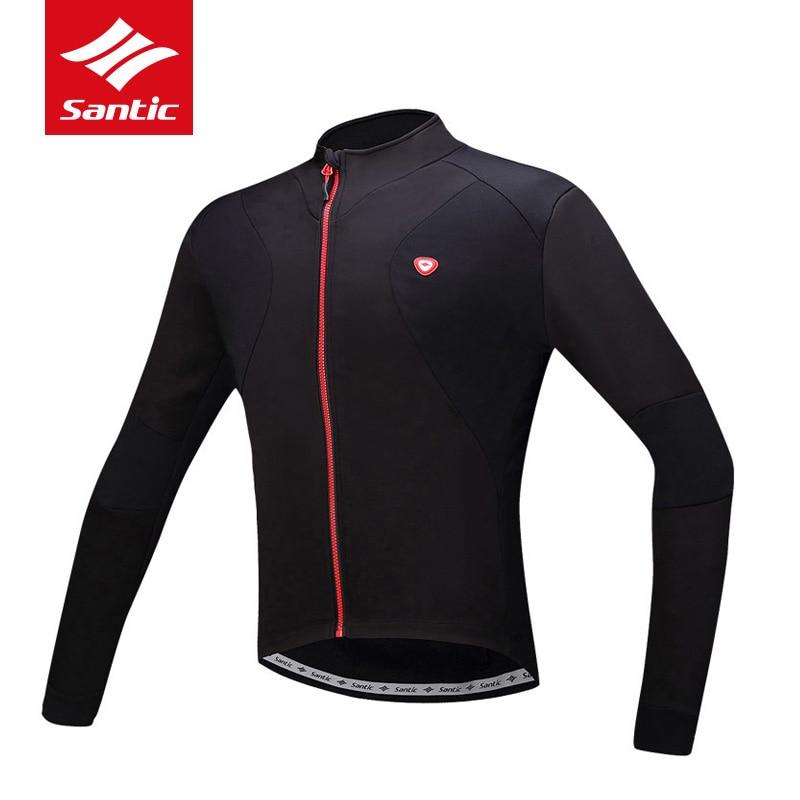 цена Santic Cycling Jacket Men Autumn Winter Warm Fleece Thermal Cycling Clothing 2018 Road Bike Bicycle Coat Ropa Ciclismo онлайн в 2017 году