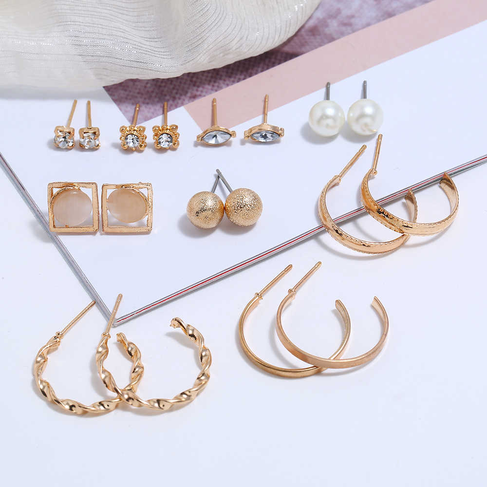 9pairs New Fashion Golden Stud Earrings Gem Stone Simulated Pearl Rhinestone Long Earrings Set For Women Jewelry brincos bijoux