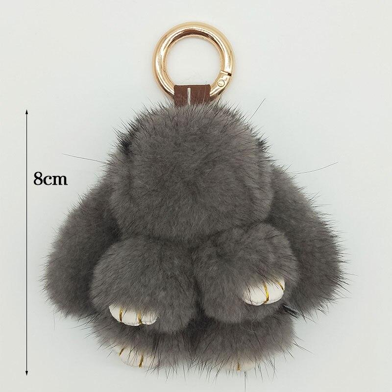 8cm Cute Real Mink Key Chains Mini Rabbit Key Ring 100% Natural Mink Fur Handbag Pendant New Design Key Chain Accessories