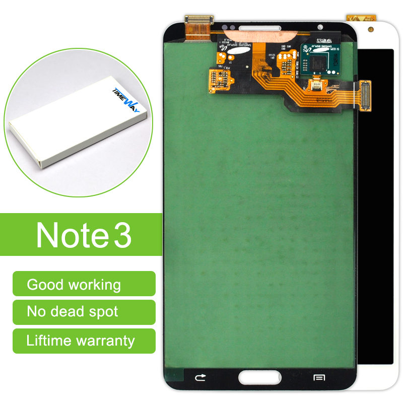 цена  Dhl 10 Pcs For Samsung Note 3 N9000 N9005 Lcd Display Touch Screen Digitizer Assembly Without Frame White/gray Free Shipping  онлайн в 2017 году