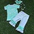 2016 roupa de verão meninas roupas de manga curta capris meninas com acessórios de seta