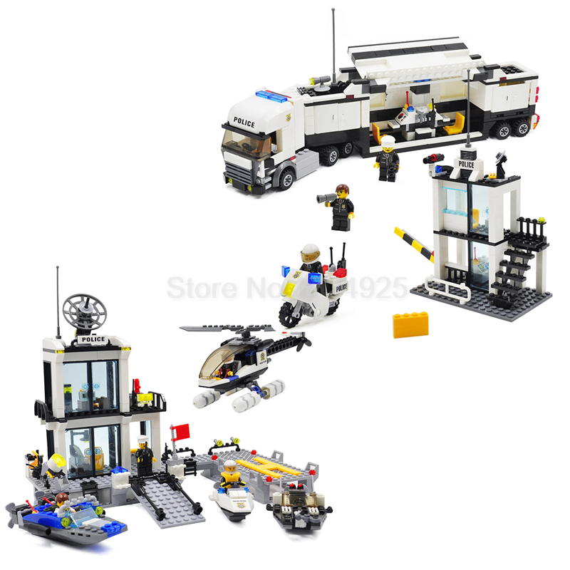 Police Station Kazi Helicopter Truck Building Blocks Children Educational Toys Sets Model 511pcs 536pcs Speedboat No retail Box police station building blocks sets model 300pcs helicopter speedboat educational diy bricks toys for children ts10121