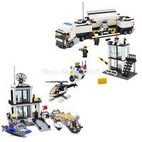 Police Station Kazi Helicopter Truck Building Blocks Children Educational Toys Sets Model 511pcs 536pcs Speedboat No