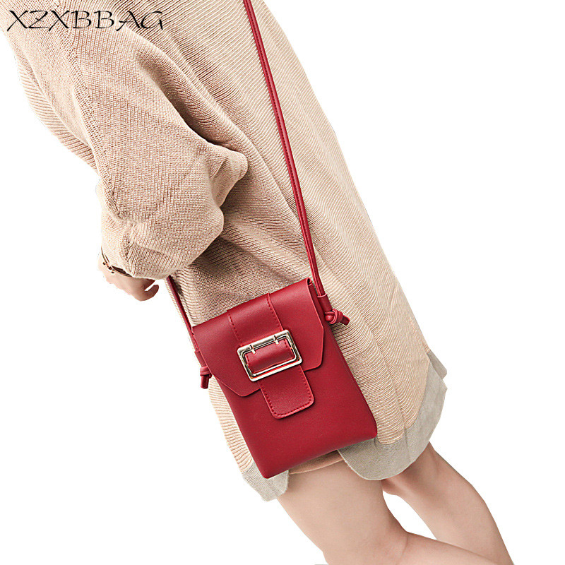 XZXBBAG Women Fashion Hasp Shoulder Bags Female PU Mobile Phone Messenger Small Bag Girls Crossbody Bag Pin Buckle Flip Packet yiyohi women fashion pu fight color small shoulder bag star messenger storage bag gril crossbody bag 5 5 inch mobile phone bag