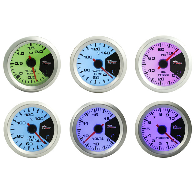 "7 COLOUR DISPLAY 52mm 2"" boost gauge bar,water temp,oil temperature, oil press,volt meter,Tachometer RPM,car meter auto gauge"