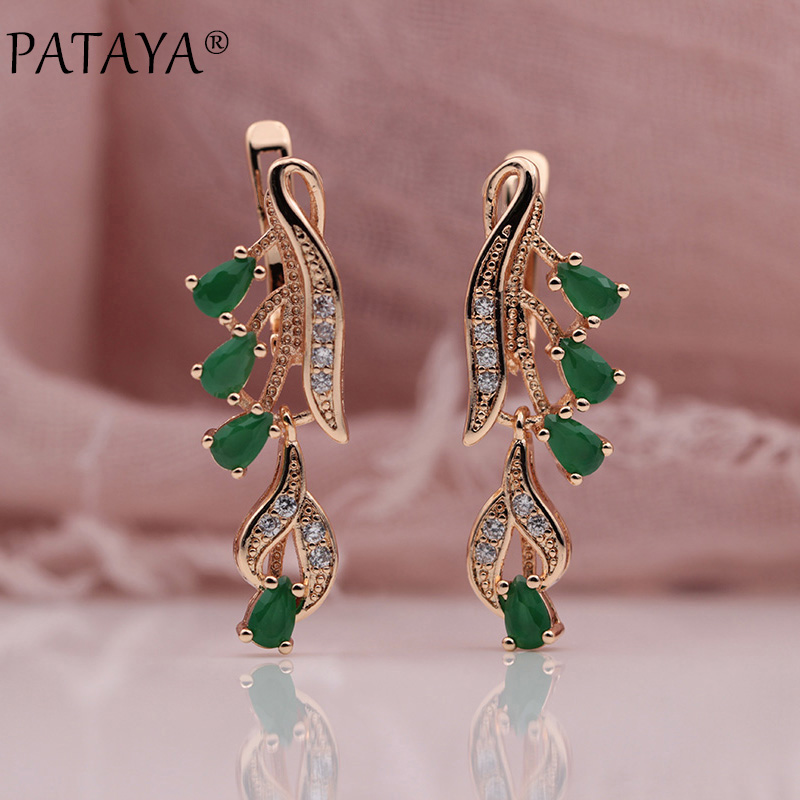 PATAYA 328 Anniversary 585 Rose Gold Multicolor Water Drop Natural Zircon Wedding Party Fine Jewelry Women Long Dangle Earrings