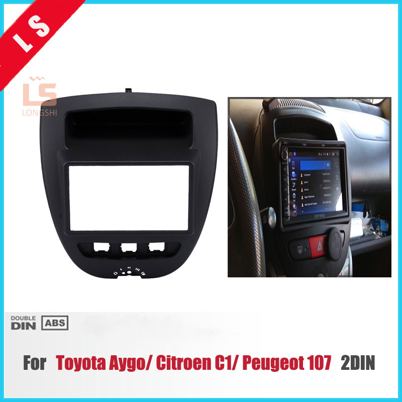 Double 2 Din Car DVD Panelstereo Fascia for Toyota Aygo/For Peugeot 107/Citreon C1 2005 2006 2007 2008 2009 2010 2011 2012 2013