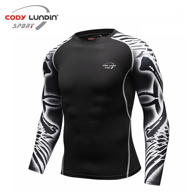 Коди Лундин Обучение Футболка с круглым вырезом и длинными рукавами плотный верхний быстро сухой дышащий Для мужчин спортивная одежда Фитнес Бег упражнения - 5