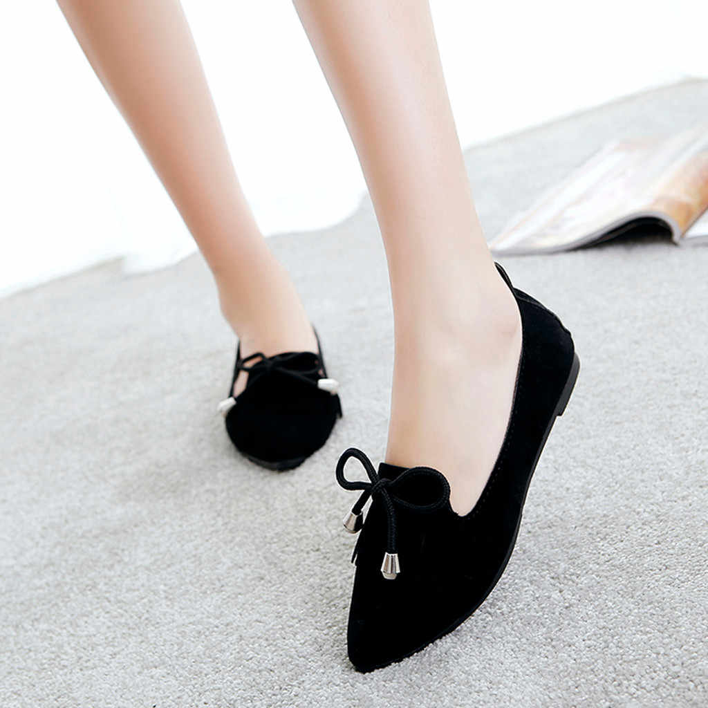 Spring And Autumn shoes woman Casual lace-up Pointed Shoes Shallow Flat-Bottomed Beanshoes Slip On Flat Shoes chaussures femme
