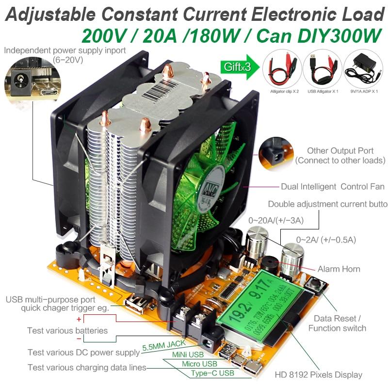 200V 20A 180W ajustable Corriente constante Carga electrónica - Instrumentos de medición - foto 2
