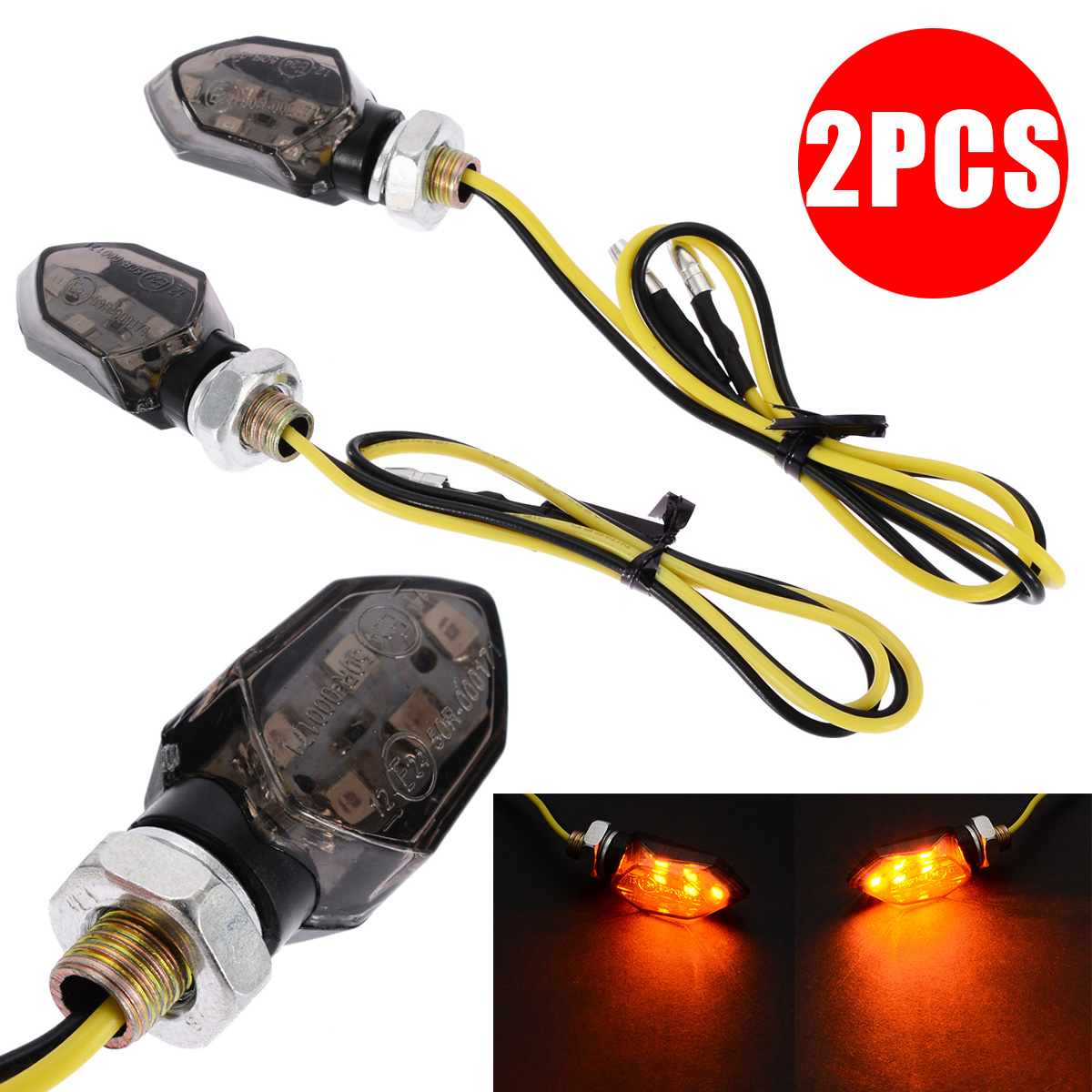 Treyues 2pcs Mini Universal Motorcycle LED Turn Signal Indicators Light Amber Blinker Led Motorbike Super Bright Lamp