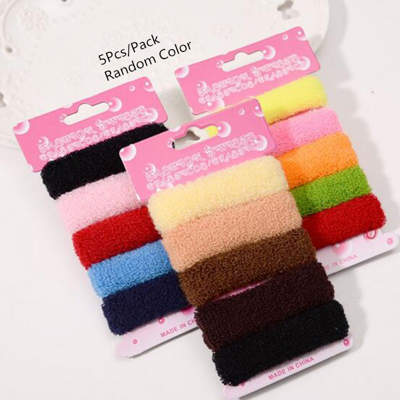 5Pcs/Pack Cute Women Girls Colorful Random Color High Elastic Hair Band Rubber Rope Ponytail Holder Headdress Acessories