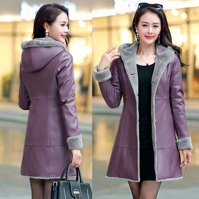 d5bed880b US $78.35 51% OFF|Boutique Women winter leather jacket Fur Together coats  Medium length Hooded trench Plus size Thicker Leather jackets OKXGNZ1200-in  ...