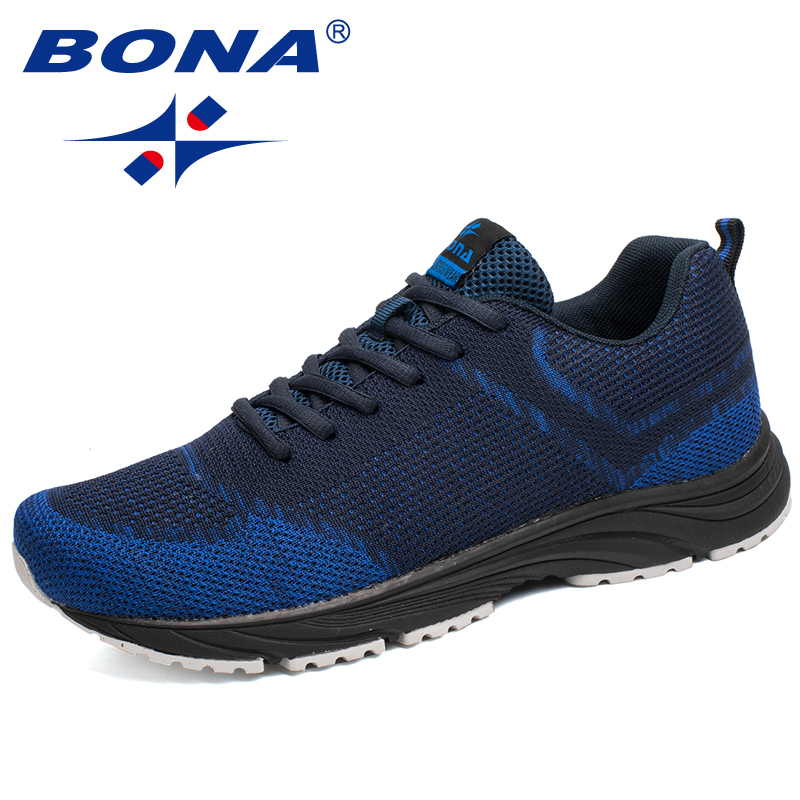 BONA New Arrival Popular Style Men Running Shoes Outdoor Walking Comfortable Sneakers Lace Up Cow Leather Athletic Shoes For Men peak sport men outdoor bas basketball shoes medium cut breathable comfortable revolve tech sneakers athletic training boots
