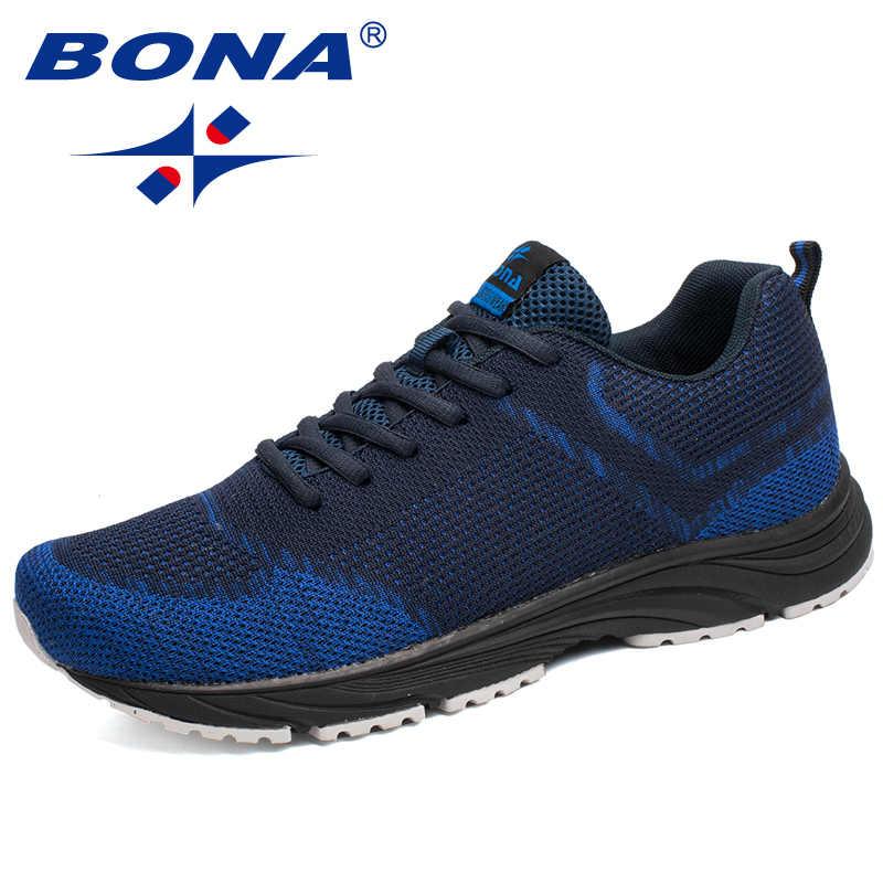 25a2d445c33277 BONA Новое поступление популярный стиль мужские кроссовки уличные  прогулочные удобные кроссовки на шнуровке коровья кожа спортивная
