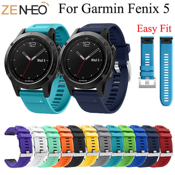 22MM Watchband Strap for Garmin Fenix 5/5 Plus Watch Quick Release Silicone Easy fit Wrist Strap for Garmin Fenix 6 pro Bracelet stainless steel watch band 26mm for garmin fenix 3 hr butterfly clasp strap wrist loop belt bracelet silver spring bar