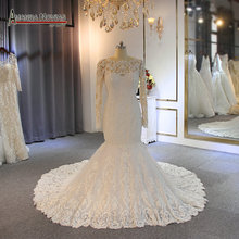 أنيقة فستان الزفاف بأكمام طويلة حورية البحر الزفاف فستان زفاف 2019