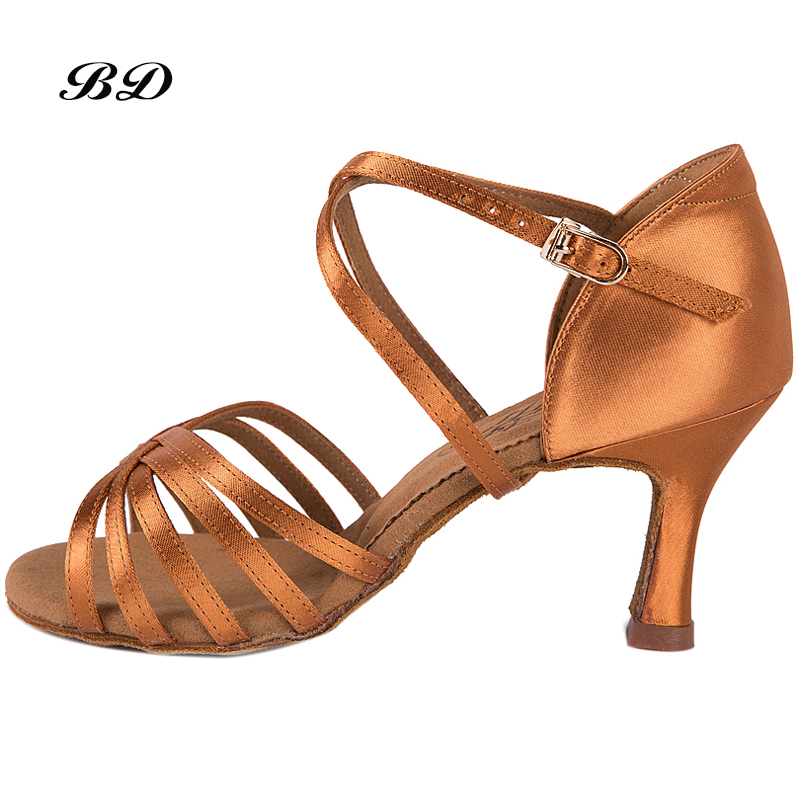 Sneakers Dance Shoes Brand Party Ballroom Women Latin shoes Brown High Quality Female Dancing Wear-resistant sole BD 216 Satin shoes woman latin shoes high heel 6 cm adult female latin dance shoes modern ballroom dancing h2112 t15 0 5